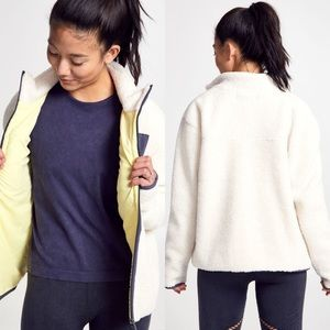 SOULCYCLE White Shearling Tri-Tone Zip-Up